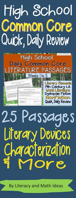 25 quick literature passages, questions, and answer keys are included.  Review Common Core or literature skills in just a few minutes each day.  A short passage and comprehension passages are included for each day of the school week.  Literary devices, plot structure, close reading, characterization, theme, and more skills are covered.  Each bundle contains more than a full month (25) quick, daily passages. $
