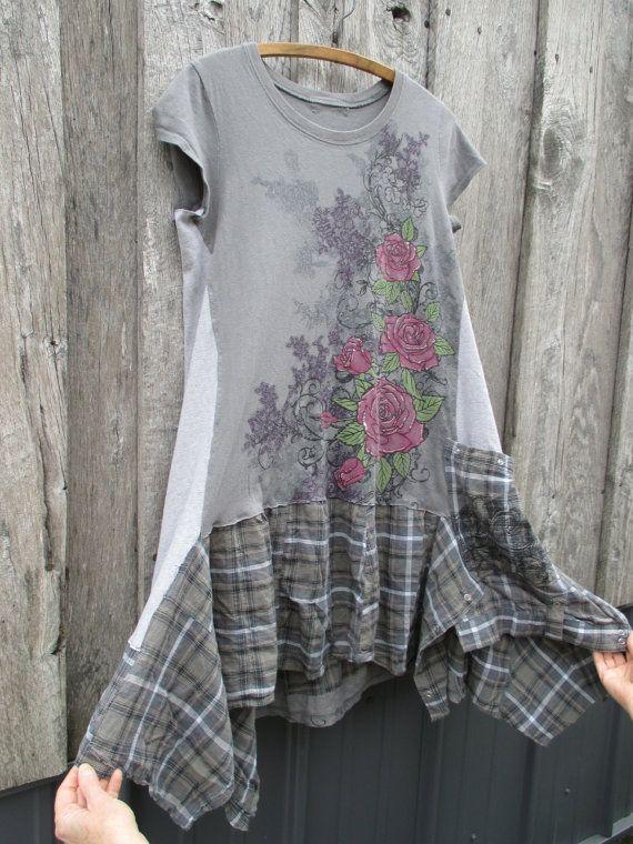 Festival Tattered Ecofashion Artsy Boho Dress by FreeRangeRags