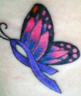 Something like I wanna get for my pap, but with his cancer ribbon instead, and the butterfly to match that color.