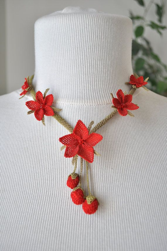 OYA Silk Needle Lace Necklace, Hand made Turkish lace (igne oya) necklace with berries and red flowers