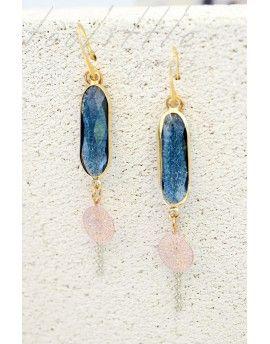 Σκουλαρίκια Circles & Blue Crystals