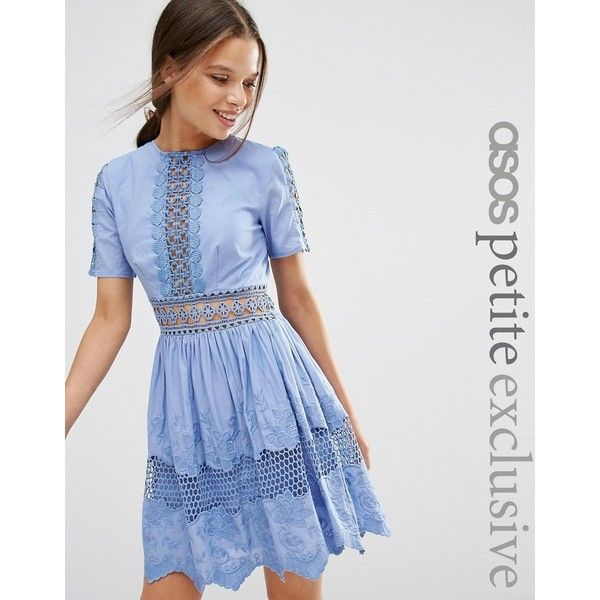 ASOS PETITE Lace Embroidered Cotton Dress ($89) ❤ liked on Polyvore featuring dresses, blue, short lace dress, petite dresses, lace fit-and-flare dresses, blue mini dress and short blue dresses