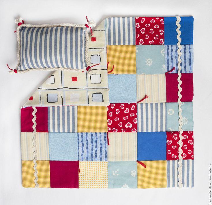"""Купить Одеяло для куклы """"Морское"""" - одеяло для куклы, кукольное одеяло, подарок для девочки"""