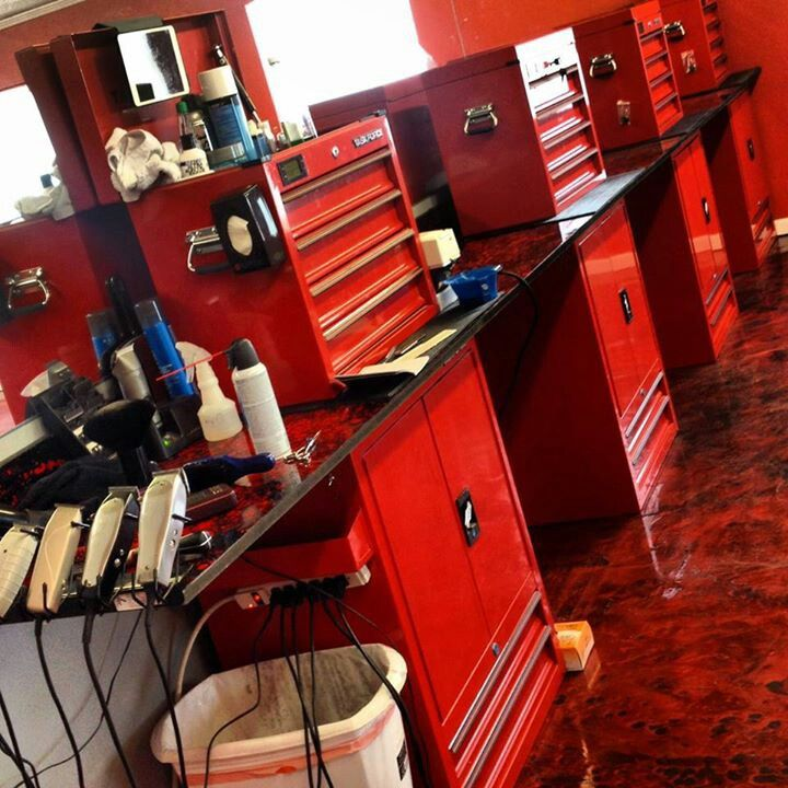 i like the concept of using tool boxes as part of each station if wanting to barbershop designbarbershop ideasbarber - Barbershop Design Ideas