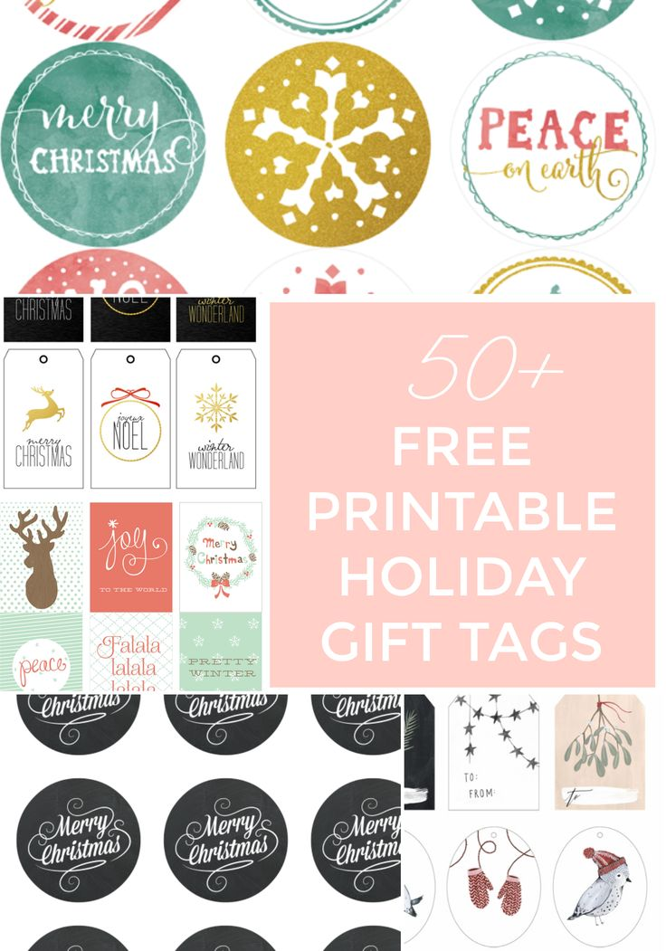 50+ FREE PRINTABLE FESTIVE GIFT TAGS & LINK UP