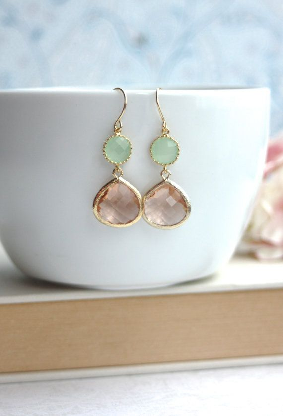 ♥´¨)  ¸.•´ ¸.•*´¨)  (¸.•´ ♥ ~ Lovely champagne peach gold plated framed glass jewels are paired with light mint gold plated framed glass connectors.
