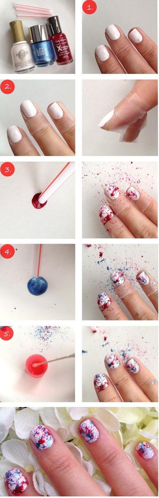 mujer pintandose las uñas y utilizando un popote