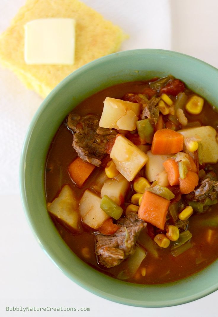 Mom's Vegetable Beef Stew for the Crockpot! Slow cooked comfort food!