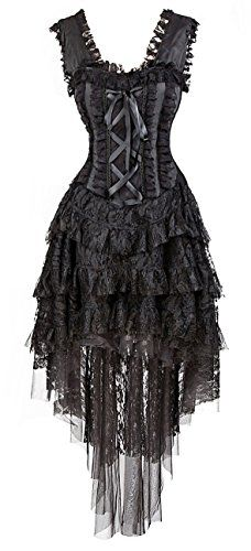 Steampunk - Kimring Womens Vintage Burlesque Saloon Girl Corset Dress Halloween Cancan Dancer Showgirl Moulin Rouge Costume Black X-Large
