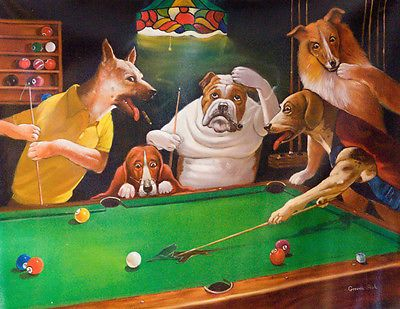 Cats And Dogs Playing Pool