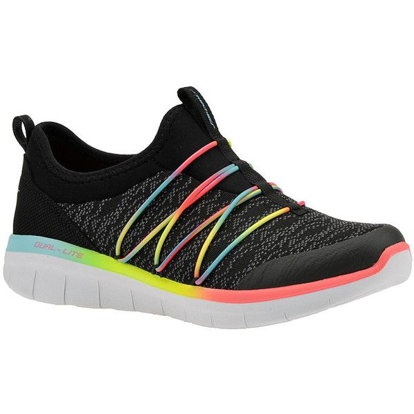 Skechers Sport Synergy 2.0 Simply Chic Women's Black Sneaker (3.795 RUB) ❤ liked on Polyvore featuring shoes, sneakers, black, black trainers, slip-on sneakers, skechers shoes, black slip on sneakers and skechers sneakers