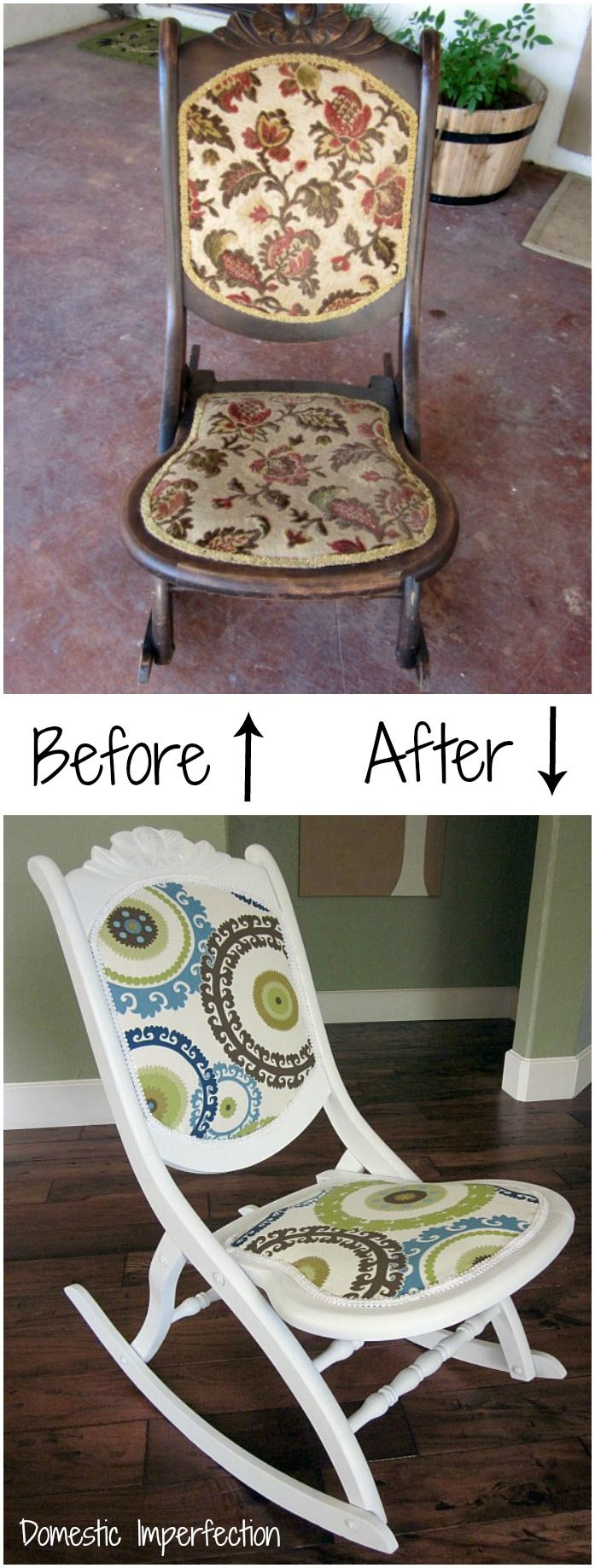 This rocker was found in the trash and given new life! Post includes easy to follow instructions and lots of pictures.