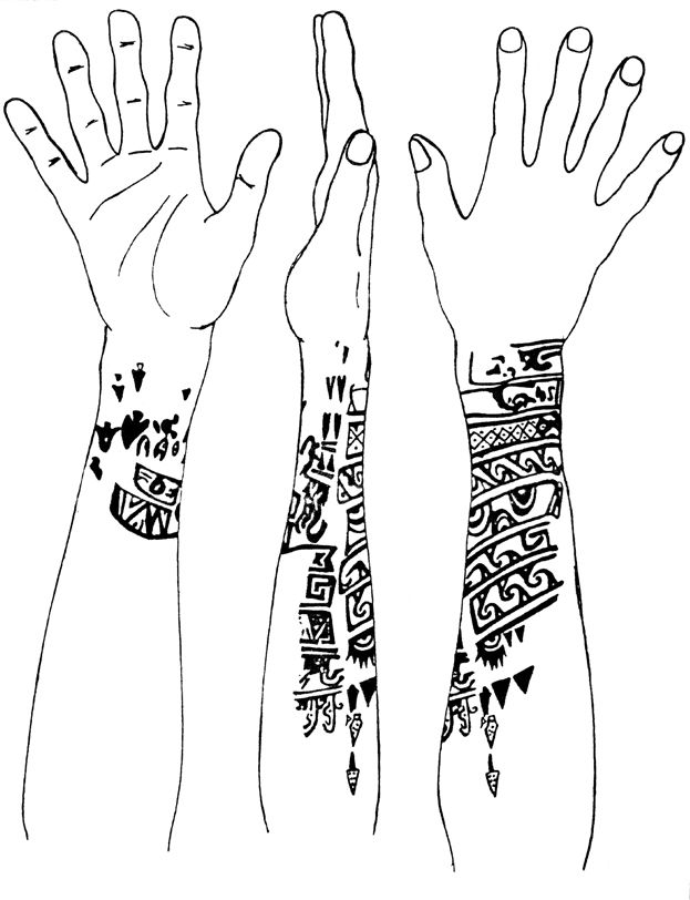 Chimú mummies with naturalistic and geometric tattooing, 1200 A.D. Drawing courtesy of Dr. Marvin Allison. Hidden in shifting sands along the coastal valleys of Peru, mummies of the Chimú culture have been discovered bearing intricate tattoos of animals, weapons, landscape features, and anthropomorphic deities. Similar designs were engraved into wood, silver, and hammered gold burial gloves. Tattoos of the sacred dead perhaps served as magical mediators between this world and the next by…