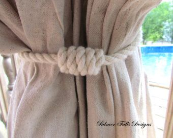 Nautical Curtain Tieback / Cotton Rope Tie Back / Nautical Decor / Beach Decor / Outdoor Curtain / Window Treatment / Lake House Decor