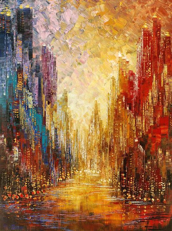 Abstract city painting skyline urban cityscape waterdront original palette knife handmade colorful rainbow by Tatiana Iliina – Made to order