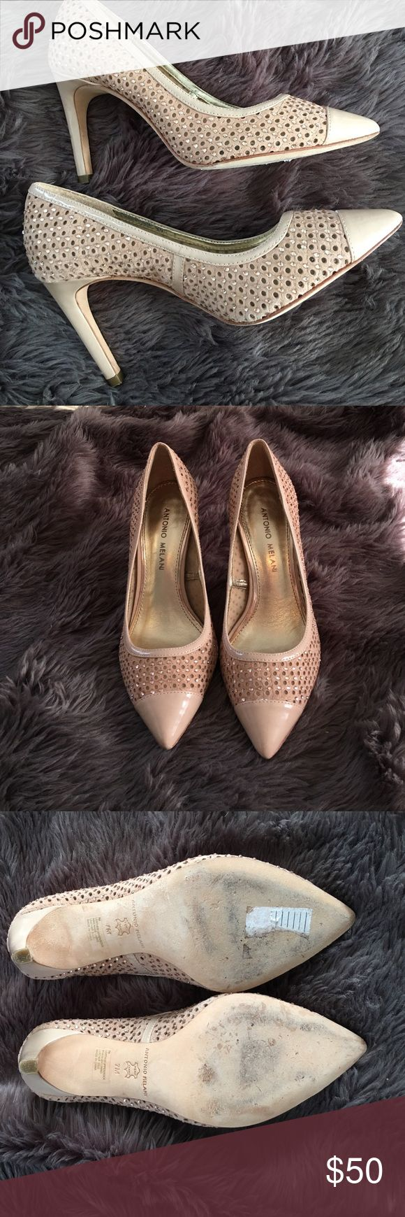 Antonio Melani heels Gorgeous nude heels with rhinestone detail. I love these heels but I never get to wear them. Only worn a handful of times. Very well made as you would expect form Antonio Melani. ANTONIO MELANI Shoes Heels
