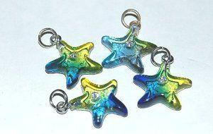 Resin grön/blå sjöstjärna hänge, styck - Design Verkstad
