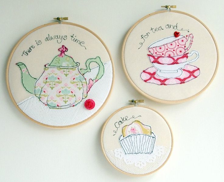 Teapot, teacups, cake trio of freestyle embroidery in hoops.