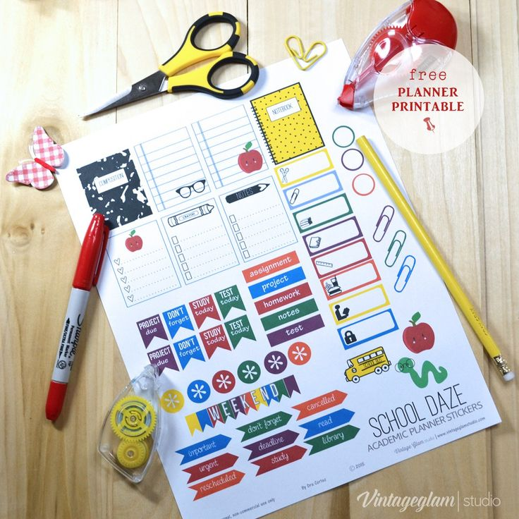 Free downloadable planner stickers printable with a school based theme for use in your vertical weekly planners and other types of papercrafts.