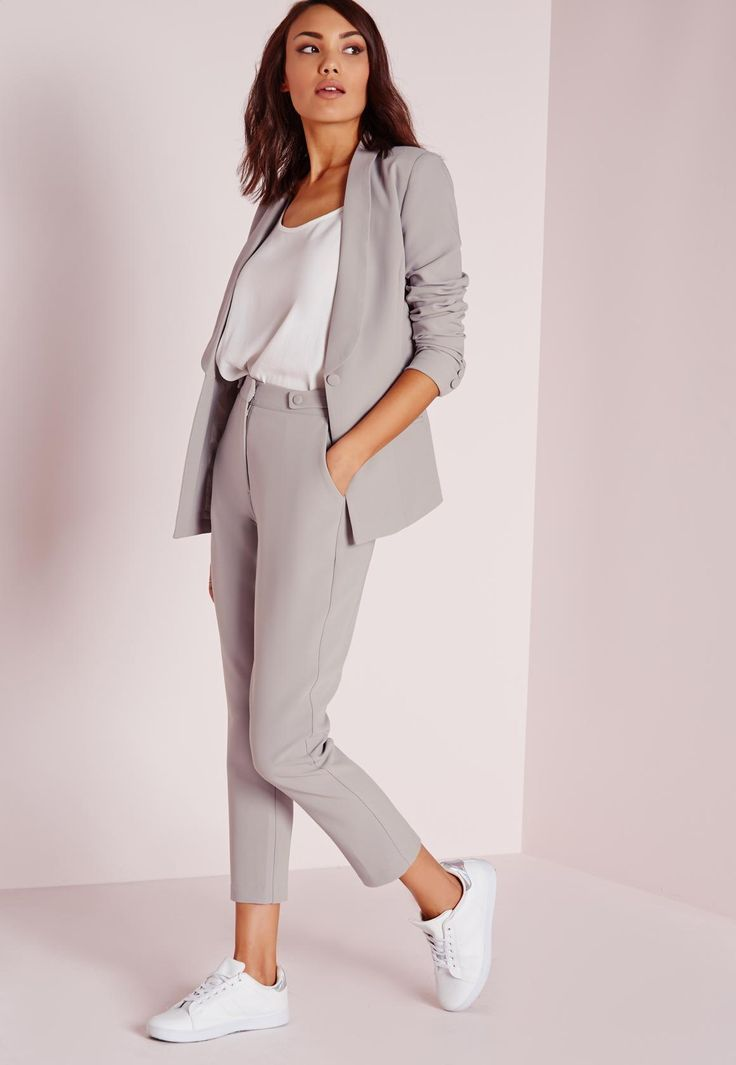 Grey trouser suit, white loose silk top and white minimalist sneakers. pinterest || macselective