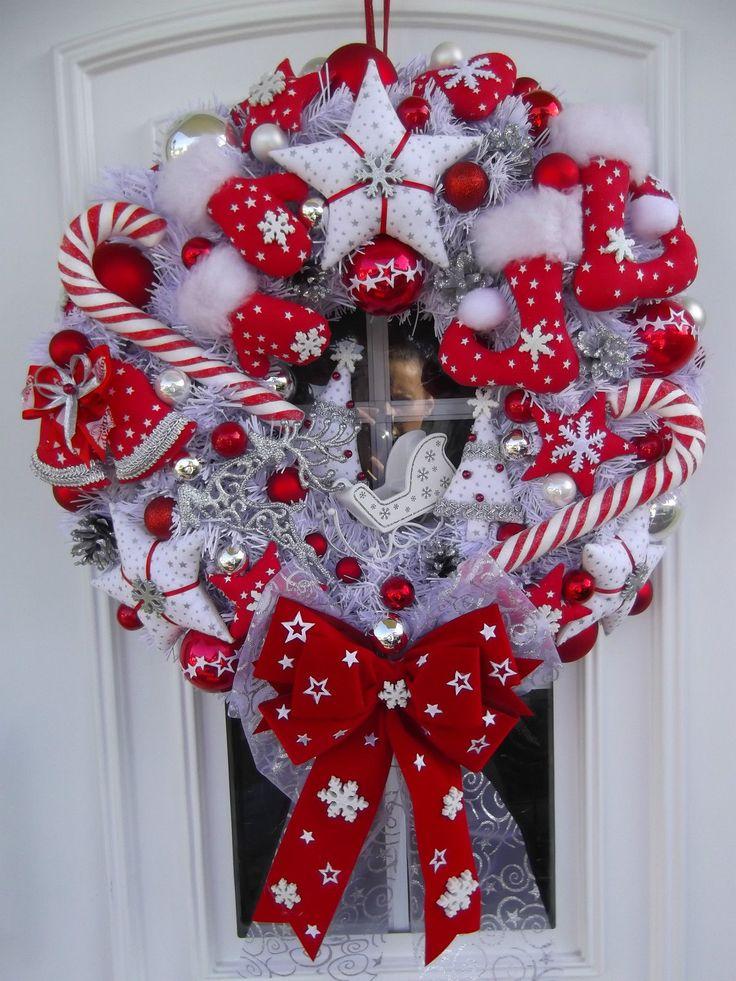 Türkranz XXL Weihnachten Weihnachtskranz Rot-Weiß-Silber Tilda-Art | eBay
