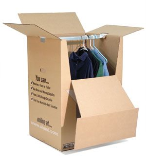 "Shorty Wardrobe® Box. The box allows you to keep your clothes on a hanger and hang them right in the box! Each box holds about 12-15 articles of clothing.   $7.95    Shorty Wardrobe® moving box is a compact, stackable wardrobe box ideal for shirts, blouses, sport coats and jackets. Directly from closet to #moving box, clothing can stay on hangers. Meets UPS shipping requirements. #Wardrobe bar is included.    Box dimensions: 24"" x 20"" x 34"" (9.4 cu/ft)"