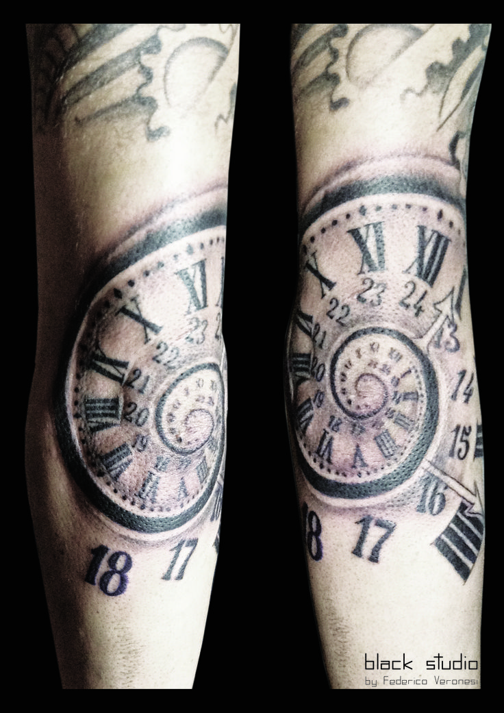 Spiral clock tattoo orologio spiral federico veronesi black studio www blackstudiotattoo