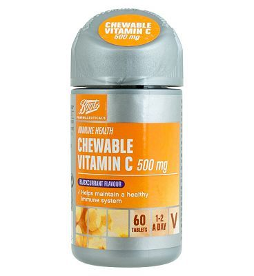 Boots Pharmaceuticals Chewable Vitamin C 500mg 16 Advantage card points. Boots Pharmaceuticals Vitamin C 500 mg Food Supplement with Sweeteners 60 Tablets FREE Delivery on orders over 45 GBP. (Barcode EAN=5045097866042) http://www.MightGet.com/april-2017-1/boots-pharmaceuticals-chewable-vitamin-c-500mg.asp