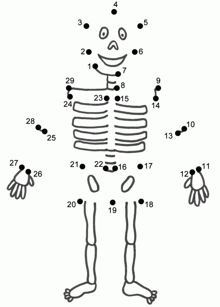 Superior Skeleton Crafts For Kids Part - 12: This Skeleton Connect The Dots Page Features A Dot To Dot Puzzle For  Halloween. This Activity Worksheet Helps Kids Practice Connecting The Dots,  ...