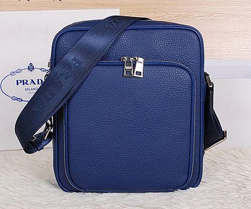 Prada Grainy Leather Messenger Bag VA6688 Blue