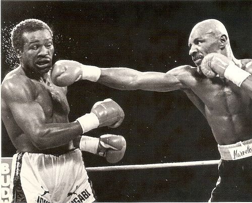 Marvelous Marvin Hagler in second to last fight, against John the Beast Mugabi, whom Hagler knocked out in the 11th.