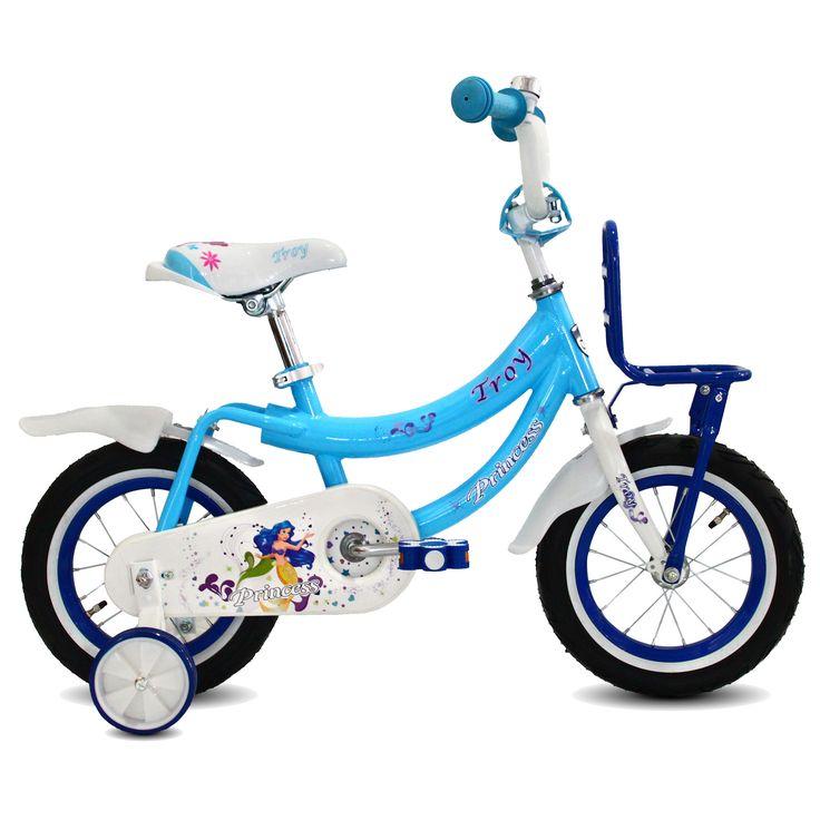 """Troy Kinderfiets Princess blauw 12"""" Blauw  Description: Deze mooie blauw/witte Troy Princess 12 inch kinderfiets is geschikt voor kinderen van 2 tot 4 jaar. Deze Princess fiets is werkelijk een topper. De fiets is gedecoreerd met de alom bekende Princess figuren en het stevige stalen frame zorgt dat de fiets stevig is en tegen een stootje kan. De terugtraprem in het achterwiel zorgen ervoor dat je kind veilig kan remmen en tot stilstand kan komen. De zijwieltjes zorgen voor ondersteuning en…"""