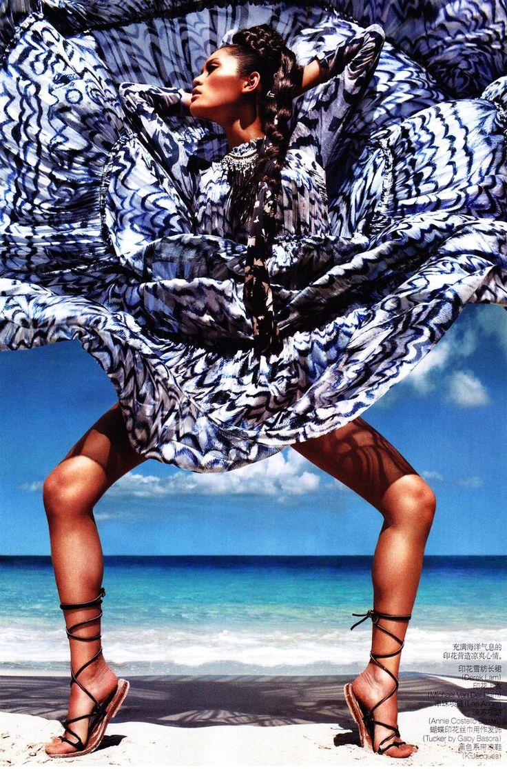 "Photographer Daniel Jackson, model Ming Xi, stylist Tiina Laakkonen: ""Goddes in the sun"" for Vogue China"