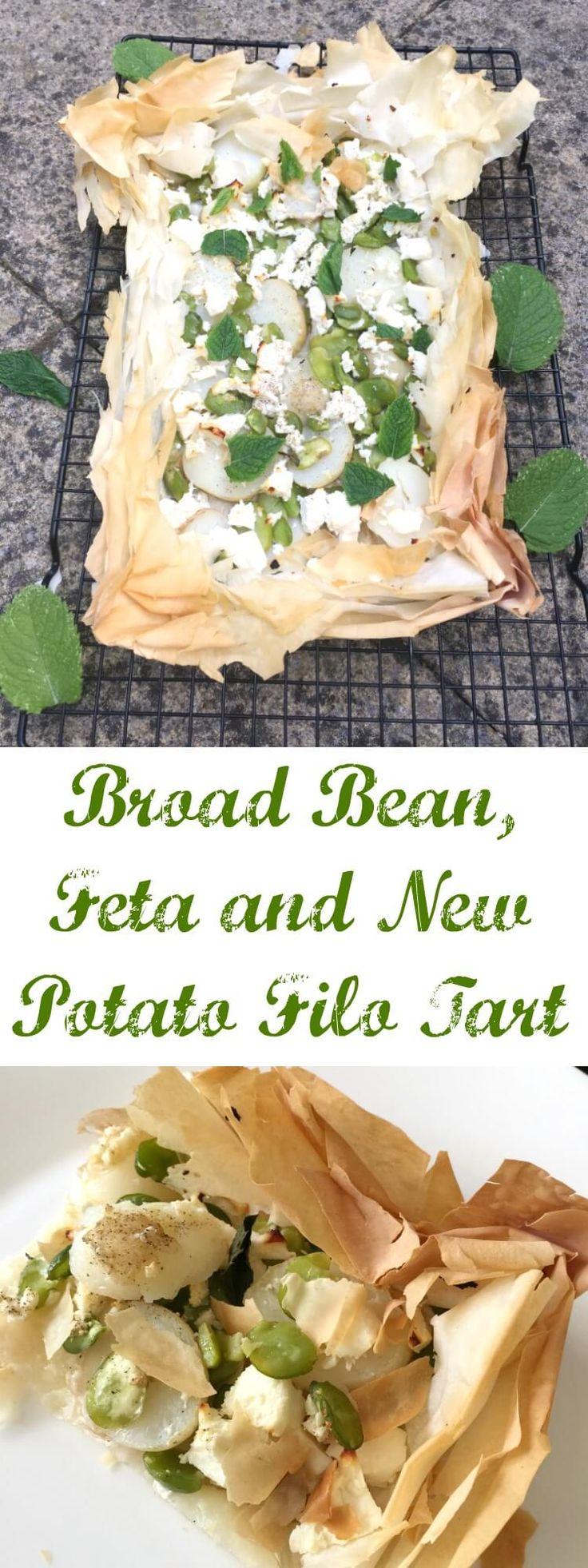Broad bean, feta and new potato filo tart