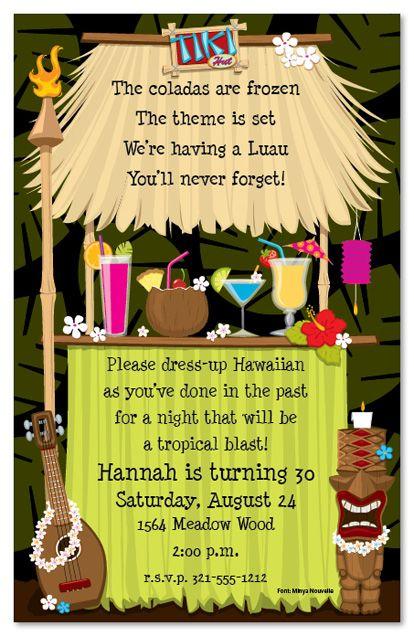 tiki hut invitation-see fun,festive favors board