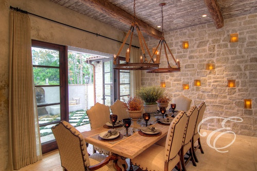 Dining With Access To Outdoor Courtyard Tuscan Farmhouse