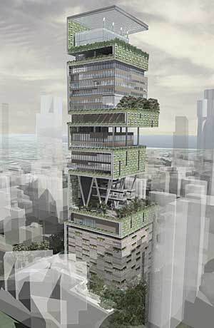 Antila - the worlds most expensive home. Mumbai costing $2Bn this 27 storey building is home to one family.