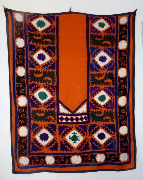 Suzani Wandbehang orange, Handbestickt, von SALOME  auf DaWanda.com