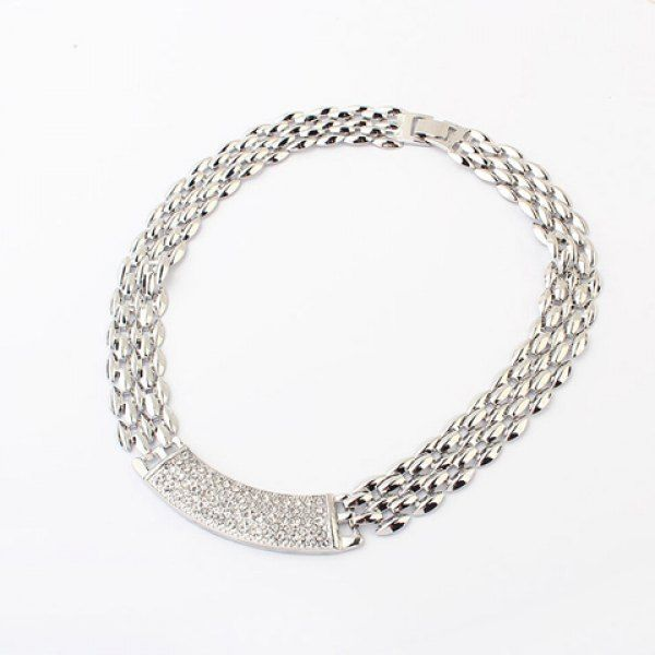 Simple Modern Style Solid Color Rhinestoned Women's Choker Necklace, SILVER in Necklaces   DressLily.com