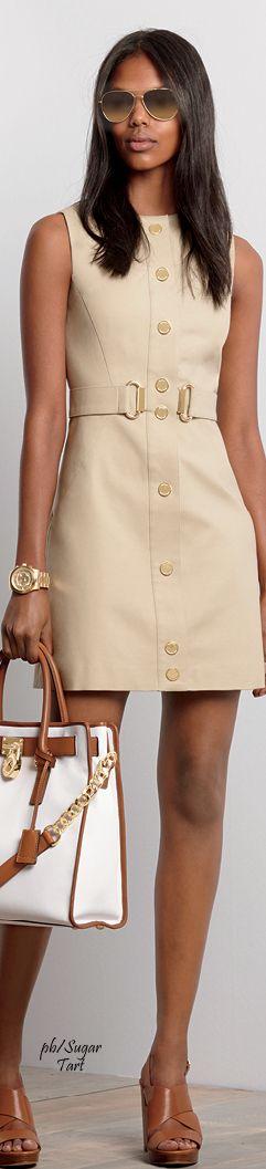 Michael Kors ~ Sleeveless Beige Front Button Mini Dress, Fall 2015