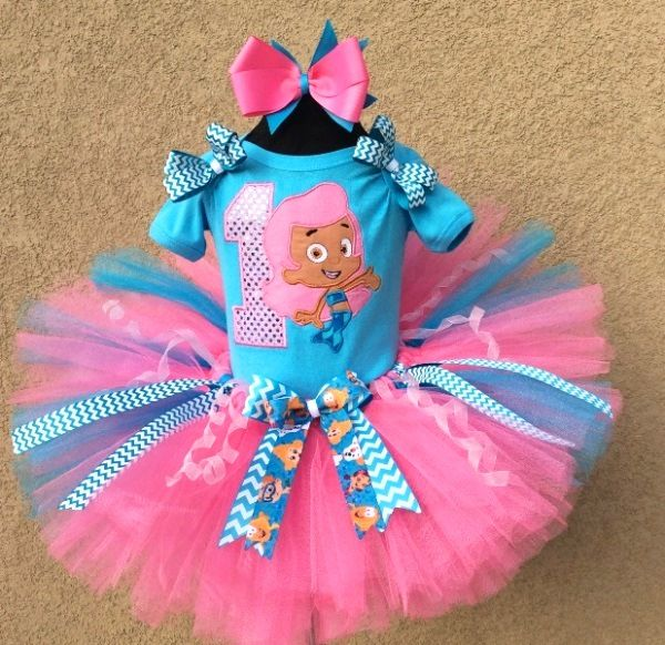 Pink Sparkle Molly Bubble Guppies Girls Birthday Tutu Outfit