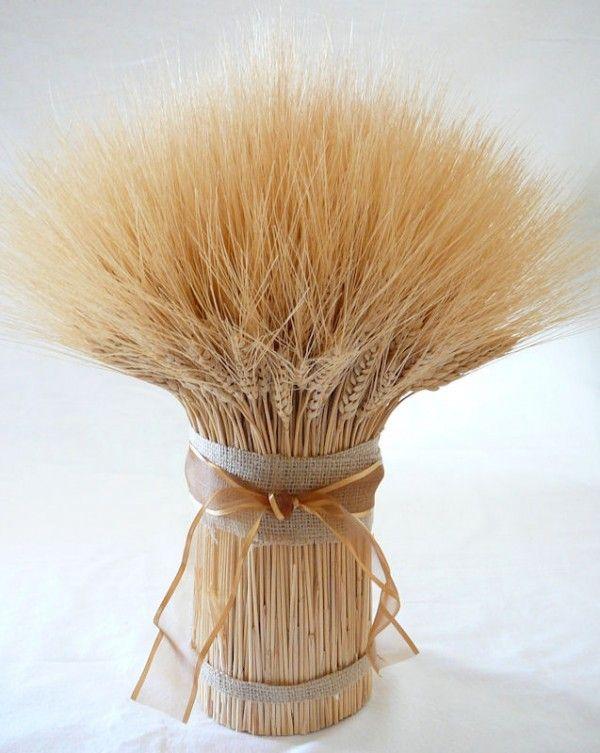 Wheat Centerpiece Ideas For A Country Wedding from rusticweddingchic.com