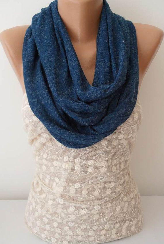 ON SALE Dark Blue Scarf Infinity Scarf Womens by JasmineAccessory, $9.90