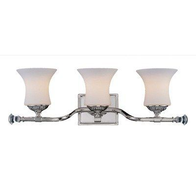 "Jemmy 3 Light Bath Vanity Light by Savoy House. $182.00. 8-8000-3-109 Features: -Bath vanity. -Jemmy collection. -Number of lights: 3. -Polished nickel finish. -Traditional style. -For bath use. -Number of arms: 3. -UL and cUL listed. Specifications: -Bulb type: 100W E bulb. -Backplate dimensions: 4"" H x 4"" W. -Overall dimensions: 24"" H x 9.5"" W x 7"" D."