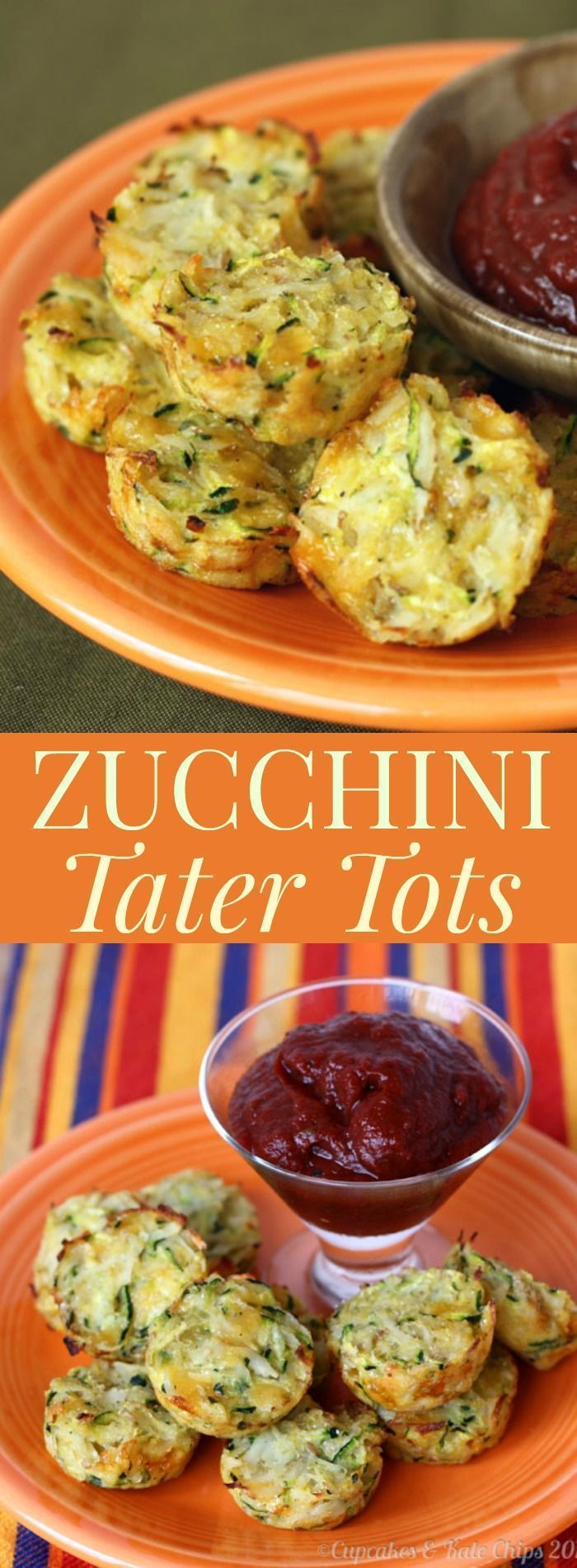 Zucchini Tater Tots - a healthy, homemade side dish that's a kid-friendly recipe with some extra veggies! Gluten free. | http://cupcakesandkalechips.com