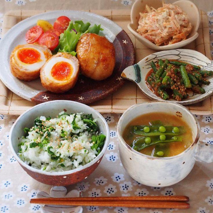Standard Poodle あずきとおもち  2017.2.25 今日の晩ごはんは . ◌ ☆とろ〜り半熟卵の豚肉巻き☆ ( cookpad 1805104 ) ◌  簡単!ごぼうと人参のサラダ ( 2967733 ) ◌  いんげんのゴマ和え ( 809574 ) ◌  スナップエンドウの卵とじ味噌汁 ( 2618822 ) ◌  春*菜の花とちりめんじゃこの混ぜ御飯 ( 3034761 ) . でした( 'ч'๑ ) . .