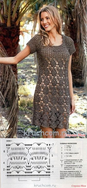 * Dress beautiful filigree pattern. - All in openwork ... (crochet) - Home Moms