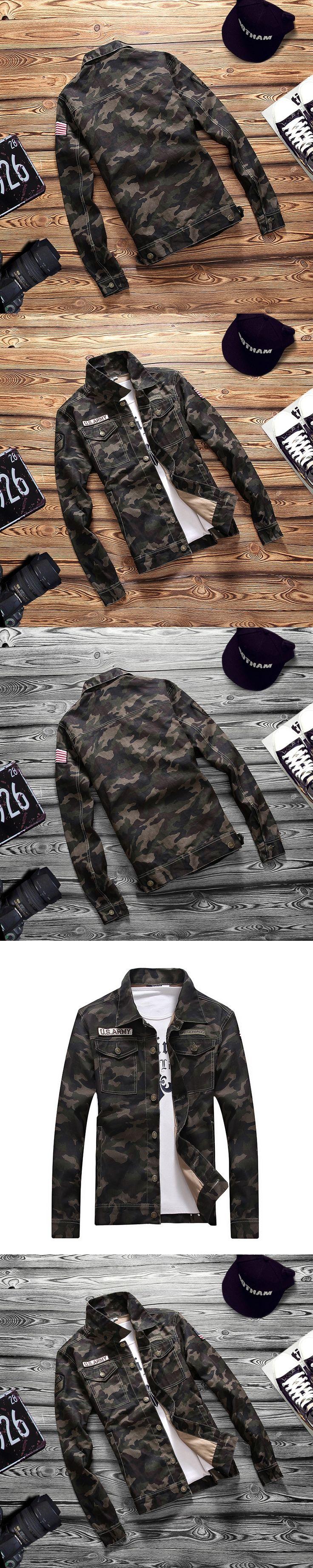 Fashion Outerwear & Coats 2017 Spring men's denim jacket camouflage windbreaker mens Slim Coats jaqueta masculina male Plus 4XL