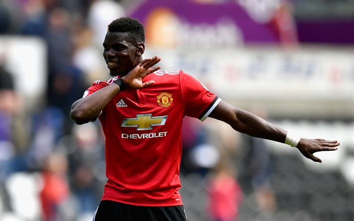 Download wallpapers Paul Pogba, footballers, Premier League, goal, Manchester United, MU
