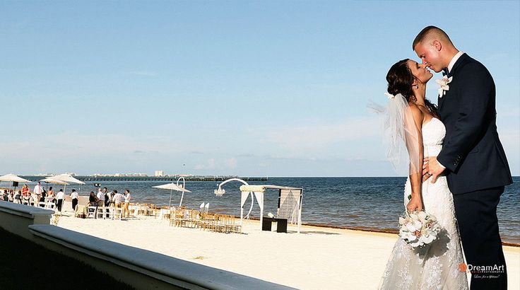 Our excited couple enjoyed the un-parallel beauty of the ocean has their backdrop at Palace Resorts Weddings ®